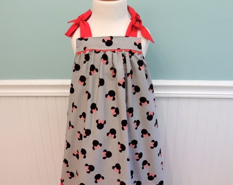 Minnie Mouse Dress - Minnie Dress - Vacation Dress - Girls Dress - Toddler Dress - Red Minnie Dress - Custom Dress - Summer Dress -