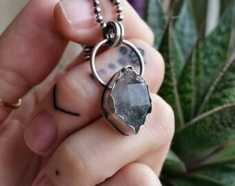 "Sterling Tibetan Quartz pendant •19"" 2mm bead chain •double terminated •black phantom •bohemian •hippie •gypsy •festival •handmade •oxidized"