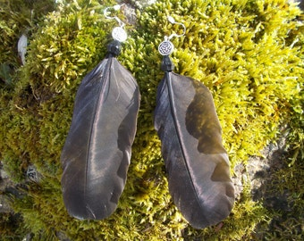 Crow Feather Earrings, The Morrigan, Crow ,Goddess, Celtic Goddess Earrings,Crow Feathers, Feather Earrrings,Celtic Earrings ,