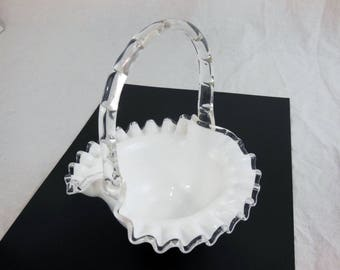 Vintage Fenton Silver Crest Basket #7237 - Wedding Decor - Ruffled Bowl