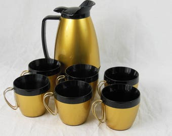 Thermo-Serv Insulated Carafe and 6 Cups, West-Bend - Vintage