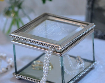 Elegant Square Glass Jewelry or Keepsake Box  (c150-1104) - Free Personalization