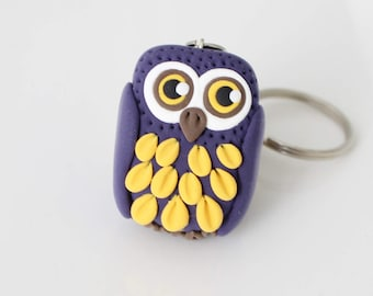 Cute purple and yellow Owl keychain