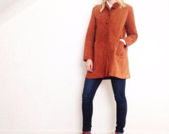 Vintage suede coat. 60-70's leather coat. Suede sheath coat.