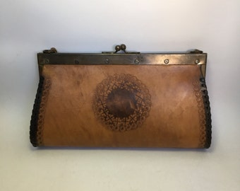 Vintage Brown Leather Clutch Purse Bag