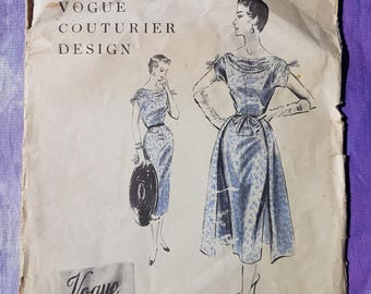 50's Rare Sewing Pattern Vintage Vogue Couturier Design 789 Dress and Overskirt Size 14 1954