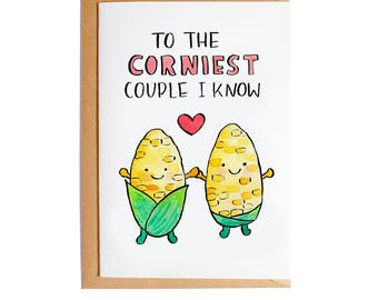 To The Corniest Couple I know - A6 Blank Card - Watercolour - Pun