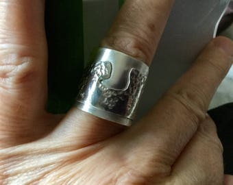 Ring Silver 925, double, hokusai, sea waves, handmade, unique, adjustable