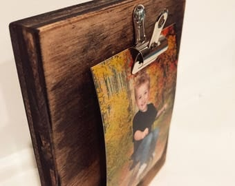 Reclaimed Wood Photo Holder;Wood Photo Frame;Photo Display;Photo Holder;Reclaimed Wood Picture Frame;Clip Picture Frame for wall;Clipboard