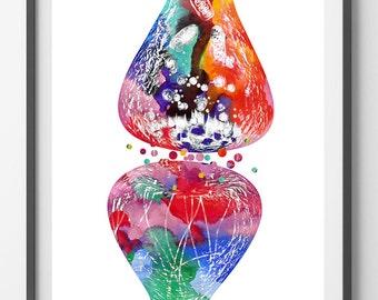 Human nerve cell synapse receptor watercolor print, brain neurology poster Neurotransmitters medical art neuronal receptor science wall art