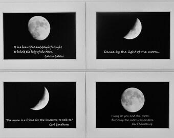 MOON PRINTS ENSEMBLE--5X7 Matted Prints, Lunar Photography, Zen Decor, Astronomy, Moon Photography, Moon Pictures, Moon Quotes, Lunar Decor