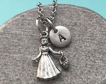 Flower girl necklace, flower girl charm, wedding necklace, personalized necklace, initial necklace, initial charm, monogram