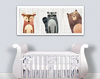 Woodland Creatures Nursery Decor - Deer - Bear - Raccoon - Large Nursery Print - Woodland Nursery