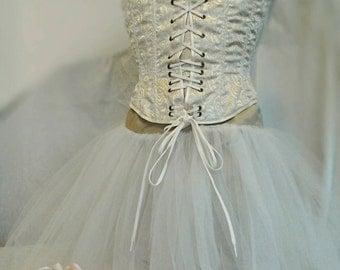 CORSET,Victorian Style: women's steel boned corset,size UK 8. Handmade.