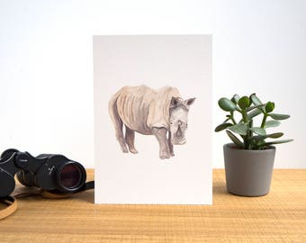White Rhino Illustrated Watercolour A5 Print // African Animals Series // Wide Mouth Rhino Painting // Animals of Africa