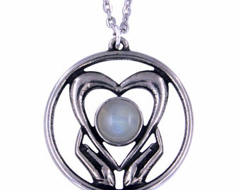 Rainbow Moonstone Holding onto love Pendant Necklace- Hand Made in UK