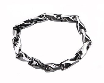 9 inch Twist Link Tungsten Bracelet Unique Highly Polished- Ideal Gift For Him -Dad- Birthday- Chhristmas- or Just For You