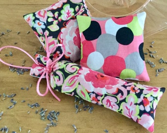 Lavender Sachet Set. Drawer And Closet Sachets. Bright Watercolor Floral  And Bold Dot Fabrics