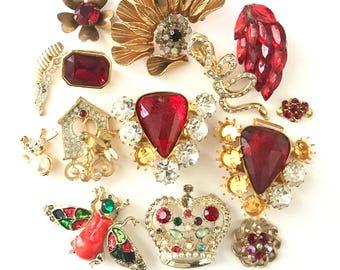 Vintage Silver Metal Rhinestone Finding, Broken Rhinestone Jewelry Lot, Repair Jewelry lot