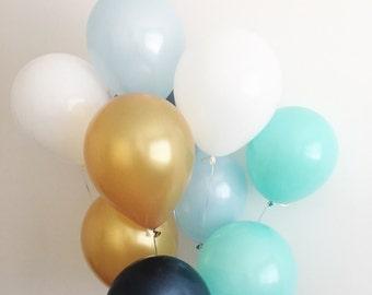 Navy Light Blue Gold Mint White Latex Balloons Navy Balloons Gold Balloons Navy and Gold First Birthday Royal Prince Mint Balloons Mint Gold
