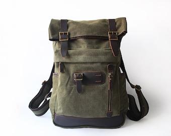 Mens Canvas Messenger Bag, Leather Messenger Bag, Laptop Messenger Bag