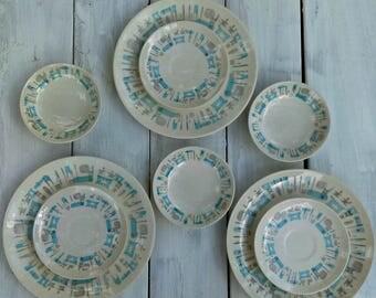 MCM Vintage Blue Heaven Dish Set/ 11 Pieces/Royal China/Mod/1950s Retro/Atomic Geometric Pattern
