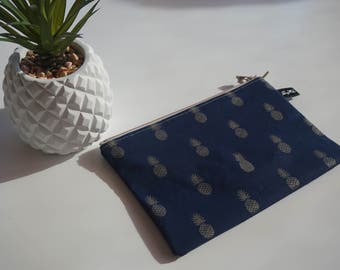 Printed Navy Blue rigid pouch Golden pineapple