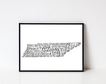 hand lettered the VOLUNTEER STATE TN Word Art Print // 8x10
