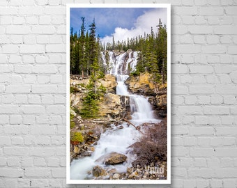 Vertical art print, Jasper national park, narrow wall art, rockies, waterfall canvas art, framed waterfall, rocky mountain picture, 4 panel