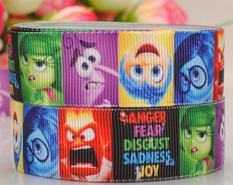 Inside Out Print Ribbon 7/8 Inch Printed Grosgrain Ribbon By The Yard For Hair Bows Gift Wrapping Scrap Booking Crafts