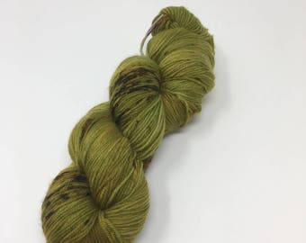 It Came From Below  Indie Dyed Yarn on Merino cashmere Nylon MCN green brown  speckled