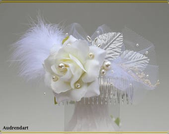 White Rose Wedding Hair Comb Feather Bridal Hair Comb Pearls Hair Piece Party Dry Flowers Hair Clip Hair Jewelry Summer Hair Accessories