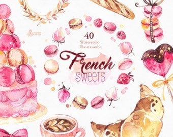 French Sweets. 40 Watercolor Images, macaron, confection, candy, wreath, bulldog, croissant, coffee, champagne, cake, france, stickers, pink