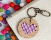 Purple Heart Cross Stitch / Love Kit / Modern Embroidered DIY Keyring / Bamboo Embroidery Kit