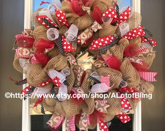 Valentine Love Jute Mesh Wreath