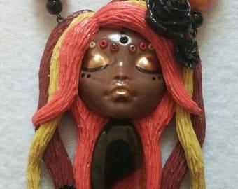 Senorita Goddess Polymer Clay Pendant Necklace