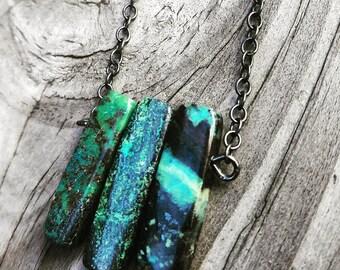 Sterling Silver Green Jasper Necklace