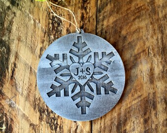 Ornament, Christmas Ornament, Snowflake Ornament, Personalized Ornament, Custom Ornament, Ornament for Couples, Stocking Stuffer