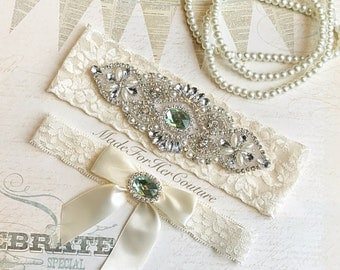 Light Green Wedding Garter, Green Bridal Garter, Green Garter Set, Crystal Pearl Garter, Vintage Garter, Wedding Garter, Christmas Wedding