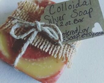 Organic Soap/Acne Soap/Essential Oil Soap/Colloidal Silver Soap/Soap Sample/Natural Soap/Handmade Soap/Cold Process Soap/Bar Soap/Gift