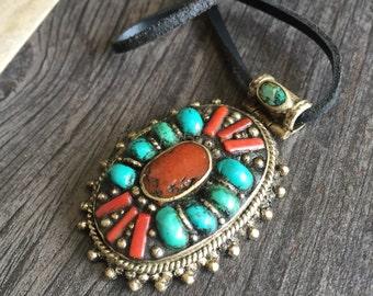 Big stone pendant, big ethnic pendant, ethnic stone pendant, coral turquoise pendant