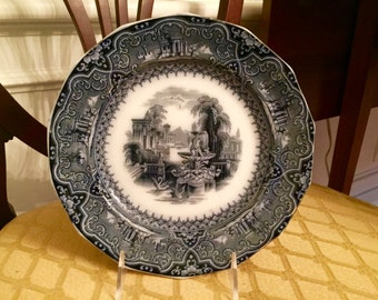 """1840's W. Adams and Sons (England) """"Athens """"pattern blue transferware plate"""