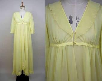1960s Yellow Robe / Nylon Peignoir / Nylon Ruffles / Lemon Yellow / 60s Lingerie / 60s Nightwear / Size Small / XS S M