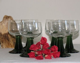 Wine glasses 60s designer Green West Germany