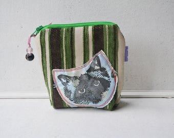 Birman Ragdoll Cat Face small zipper purse with base