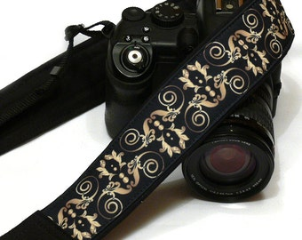 Gold and Black Camera Strap. DSLR Camera Strap. Padded Camera Strap. Fashion Camera strap.  Camera Accessories. Gift idea.