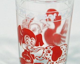 Swanky Swig glass from Kraft Foods, Kiddie Kup pattern, Hazel Atlas Glass Co, elephant, bird, toys, juice glass, baby animals, vintage glass
