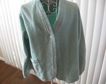 Chenille Bed Jacket Sea Foam Green Front Pocket 1980s Era