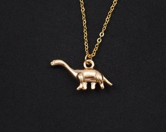 dinosaur necklace, long necklace option, gold brontosaurus charm, apatosaurus necklace, paleontology jewelry, dinosaur lover gift, christmas