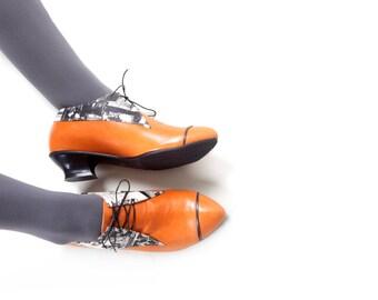 Women oxford Shoes, Orange leather tie shoes, womens oxfords, vintage designer shoes, lace up shoes, women winter close shoes, heel shoes